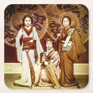 A Trio of Japanese Geisha in Old Japan Vintage 芸者 Square Paper Coaster