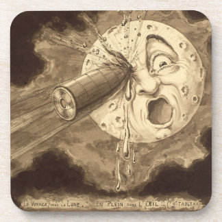 A Trip to the Moon Vintage Drawing Coaster