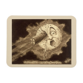 A Trip to the Moon Vintage Drawing Rectangular Photo Magnet