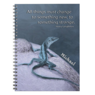A Trippy Looking Teal Anole Lizard Notebooks