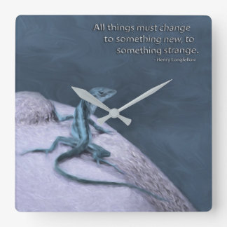 A Trippy Looking Teal Anole Lizard Square Wall Clock
