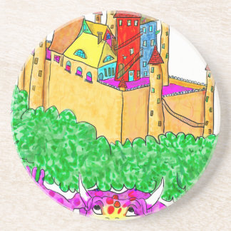 A troll and a castle beverage coaster