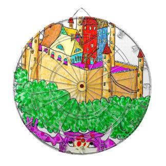 A troll and a castle dartboard