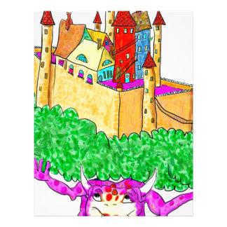 A troll and a castle letterhead