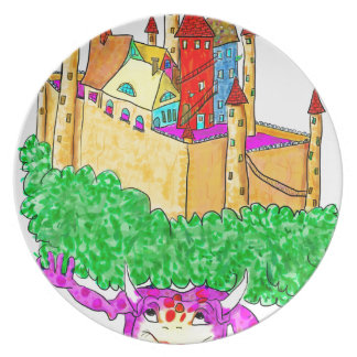 A troll and a castle party plates