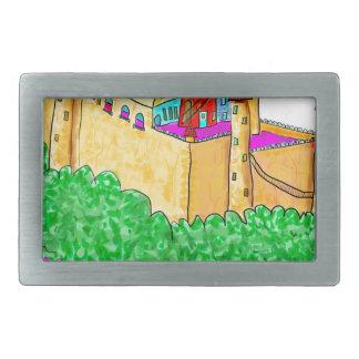 A troll and a castle rectangular belt buckle