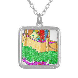 A troll and a castle silver plated necklace