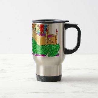 A troll and a castle travel mug