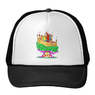 A troll and a castle trucker hat