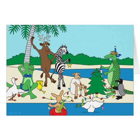 A Tropical Beach Holiday Greeting Card