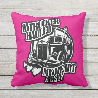 A Trucker Hauled My Heart Away Throw Pillow
