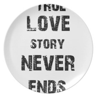 a true love story never ends dinner plates