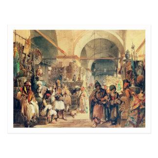 A Turkish Bazaar, 1854 (pencil & w/c on paper) Postcard