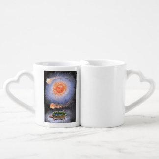 A turtle wondering in galaxy coffee mug set