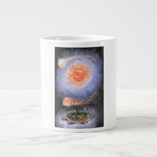 A turtle wondering in galaxy large coffee mug