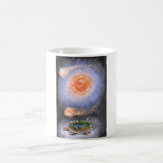 A turtle wondering in galaxy magic mug