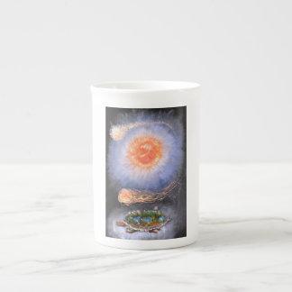 A turtle wondering in galaxy tea cup