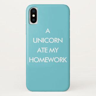 A UNICORN ATE MY HOMEWORK turquoise iPhone Case
