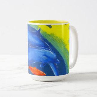 A unique and colourful mug with sea life.