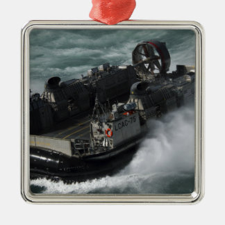 A US Navy Landing Craft Air Cushion Silver-Colored Square Ornament
