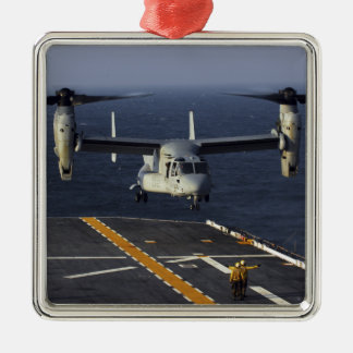 A V-22 Osprey aircraft prepares to land Silver-Colored Square Ornament
