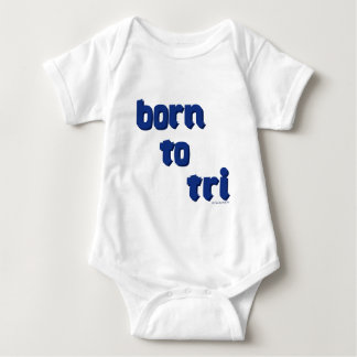 "A variety of products with the ""born to tri"" logo baby bodysuit"