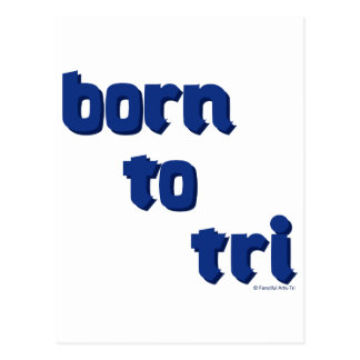 "A variety of products with the ""born to tri"" logo postcard"
