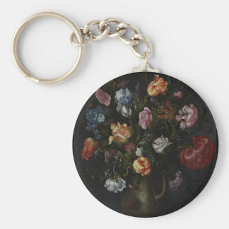 A Vase with Flowers Basic Round Button Keychain