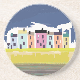 A Very British Seaside. Scenic color beach houses Beverage Coaster
