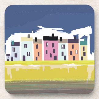 A Very British Seaside. Scenic color beach houses Coasters