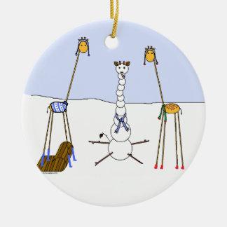 A Very Giraffe Christmas - Snowman Ceramic Ornament
