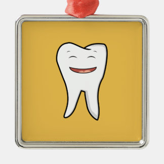 A Very Happy Tooth Metal Ornament