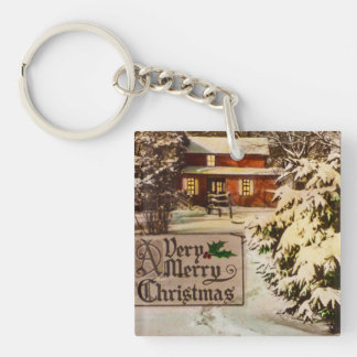 A Very Merry Christmas Classic Traditional Winter Keychain