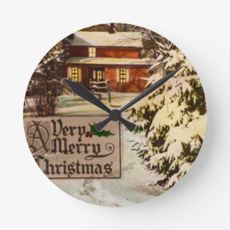 A Very Merry Christmas Classic Traditional Winter Wallclock