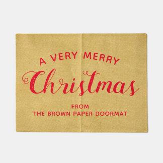 A Very Merry Christmas Faux Brown Paper Door Mat