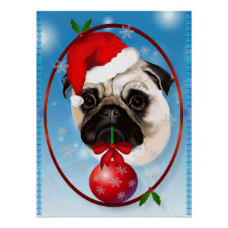 A Very Merry Christmas Pug Poster