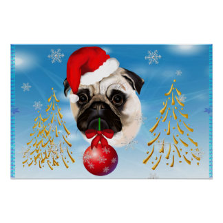 A Very Merry Christmas Pug Yard Sign Poster