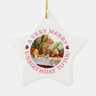 A Very Merry Unbirthday To You! Ceramic Star Ornament