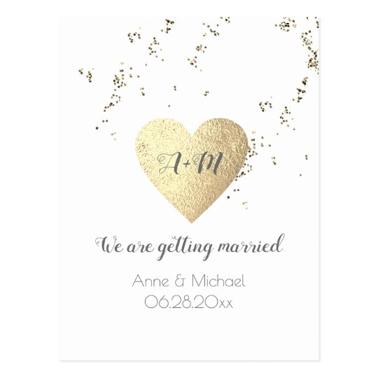a very simple wedding postcard with love heart