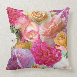 A Vibrant Field of Rose Throw Pillow