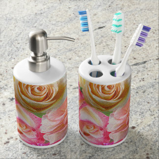 A Vibrant Field of Roses Soap Dispenser And Toothbrush Holder