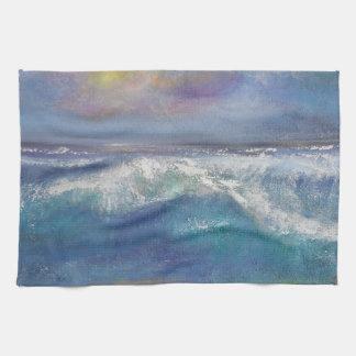 A Vibrant Sunset Wave Kitchen Towel