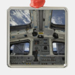 A view from inside the flight deck Silver-Colored square ornament