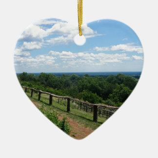 A View From Monticello Ceramic Heart Ornament