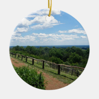 A View From Monticello Round Ceramic Ornament