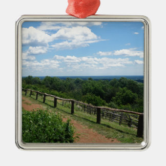A View From Monticello Silver-Colored Square Ornament