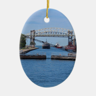 A View from the Soo II Ceramic Oval Ornament