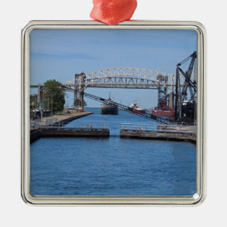 A View from the Soo II Silver-Colored Square Ornament
