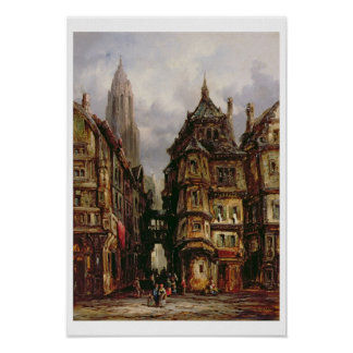 A View in the Jewish Quarter, Frankfurt, 1877 (oil Poster