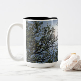 a view into the tress Two-Tone coffee mug